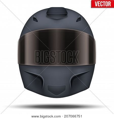 Black motor racing helmet with closed glass visor. For car and motorcycle sport. Vector Illustration isolated on white background.