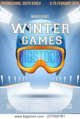 Poster Template Winter Games with Ski Helmet and goggles. Cup and Tournament Advertising. Sport Event Announcement. Vector Illustration.