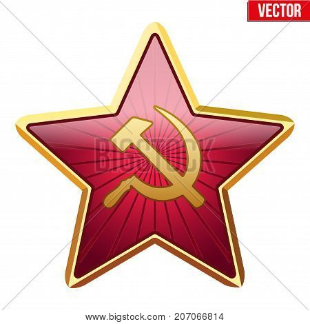 Badge of Soviet Union Red Star. Realistic symbol of the USSR. Vector Illustration isolated on white background.