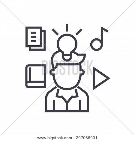 intellectual property rights vector line icon, sign, illustration on white background, editable strokes