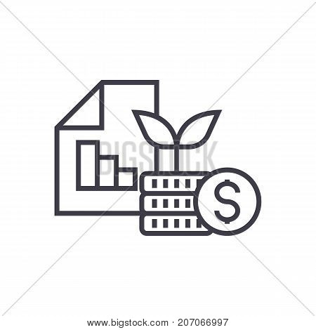 investment portfolio vector line icon, sign, illustration on white background, editable strokes