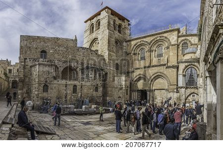 Jerusalem Israel - December 04 2016: Exterior and main entrance to the Church of the Holy Sepulchre Jerusalem
