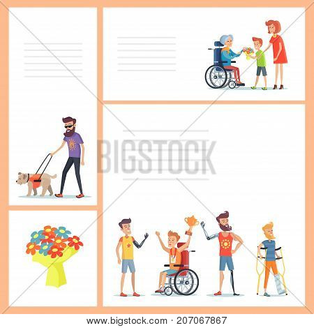 Disability person poster with lines for yout text. Men on prosthesis, blind people with dog and cane, elderly couple on wheelchairs vector illustration