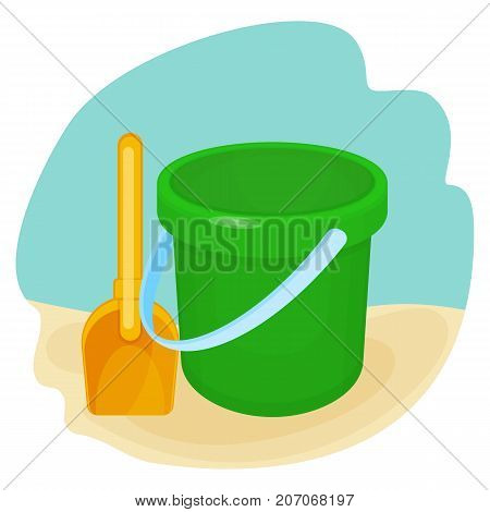 Bucket and spade put together, plastic toys for children to play with by seaside, icons on vector illustration isolated on white background