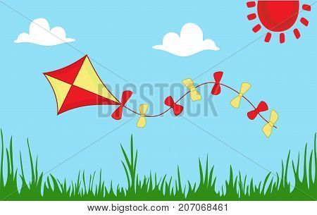 Colored kite flies on background of spring sunny meadow. Green grass against sky. Concept of freedom, ease of life, joy. Idyllic cartoon picture of warm summer day. Vector, flat style.