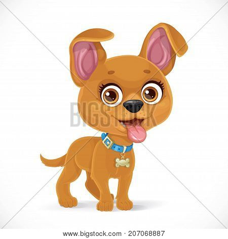 Cute Cartoon Little Puppy Isolated On A White Background