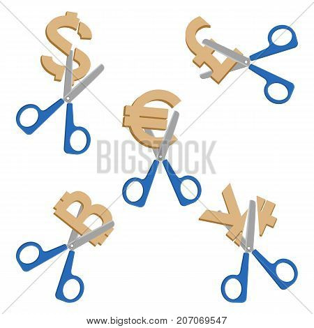 Scissors cutting symbols of currencies worldwide, dollar and euro, japanese yen and pound sterling, depicted on vector illustration