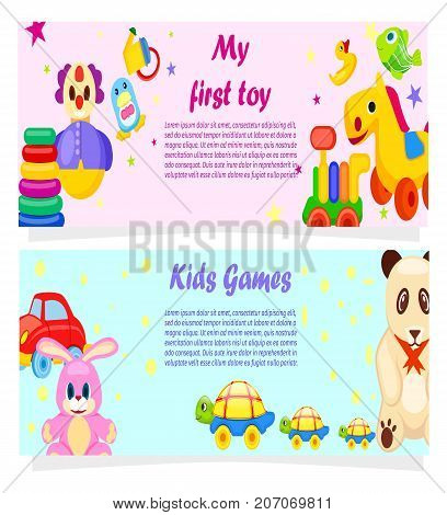 My First Toy and Kids Games posters with soft and plastic toys, funny animals, vehicle and text vector illustrations on background with pattern.