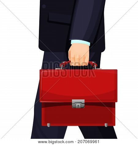 Realistic picture of man with red budget briefcase, businessman walking somewhere, vector illustration isolated on white background
