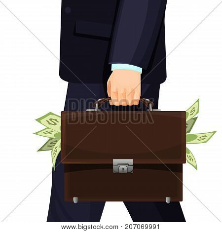 Unknown man in suit stealing budget briefcase filled with money vector illustration isolated on white. Concept of cuts in financial savings