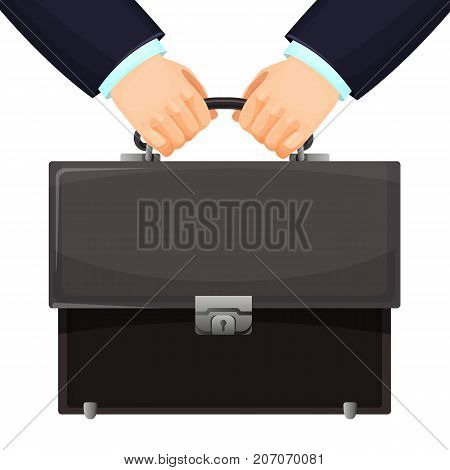 Closeup of budget leather briefcase is held tightly in two hands vector illustration isolated on white background. Symbol of money power