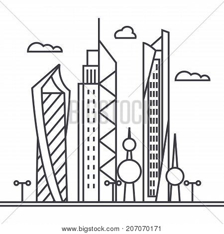 kuwait city vector line icon, sign, illustration on white background, editable strokes