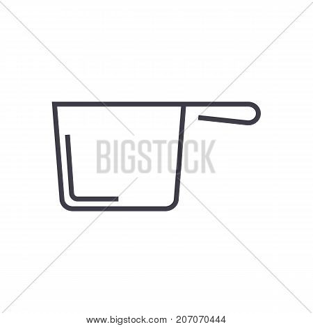 ladle vector line icon, sign, illustration on white background, editable strokes