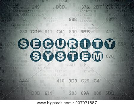 Security concept: Painted blue text Security System on Digital Data Paper background with Hexadecimal Code
