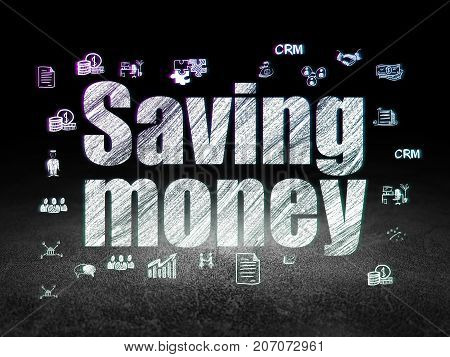Business concept: Glowing text Saving Money,  Hand Drawn Business Icons in grunge dark room with Dirty Floor, black background