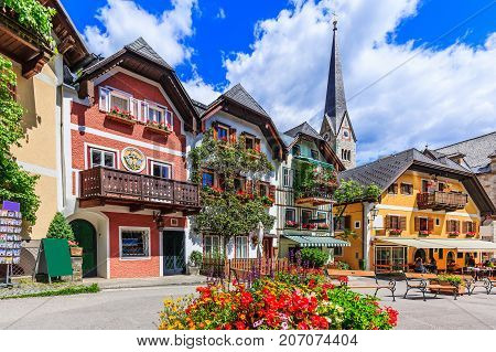 Hallstatt Austria. Main square in the village.