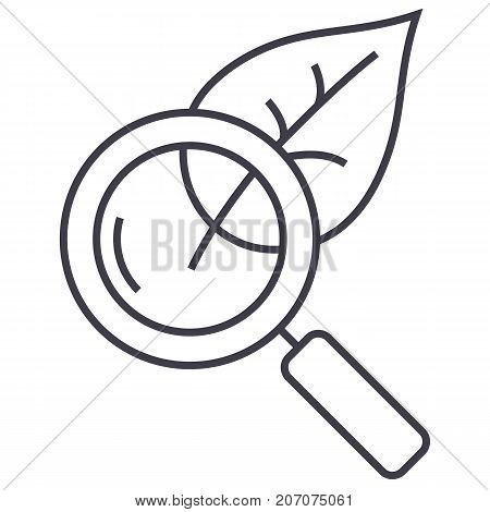 magnifier glass with leaf, biology vector line icon, sign, illustration on white background, editable strokes