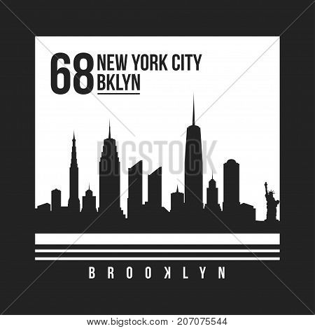 New York, Brooklyn Typography For T-shirt Print. New York City Skyline For Tee Graphic. T-shirt Desi