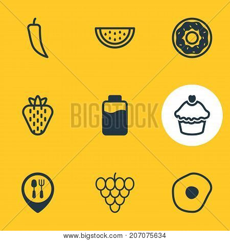 Editable Pack Of Cake, Chili, Bunch Of Grapes And Other Elements.  Vector Illustration Of 9 Meal Icons.