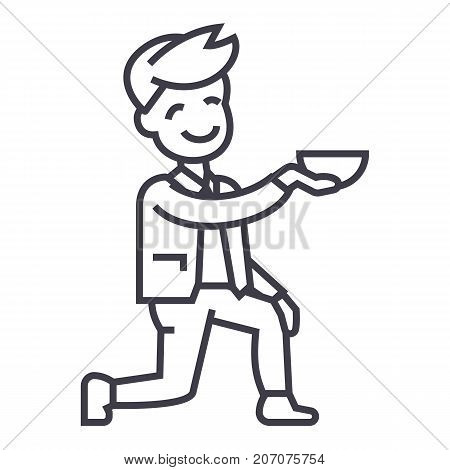 man get on one knee vector line icon, sign, illustration on white background, editable strokes
