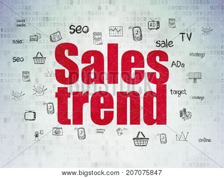 Marketing concept: Painted red text Sales Trend on Digital Data Paper background with  Hand Drawn Marketing Icons