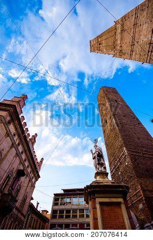 Bologna towers and Chiesa di San Bartolomeo. Bologna, Emilia-Romagna, Italy