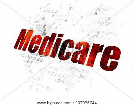 Healthcare concept: Pixelated red text Medicare on Digital background