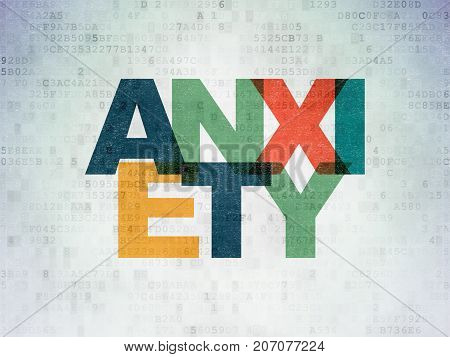Health concept: Painted multicolor text Anxiety on Digital Data Paper background