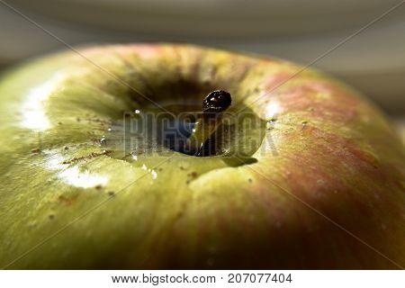 Fresh green apple whit water drops, closeup photography