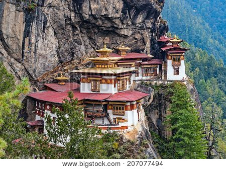 Paro Taktsang: The Tiger's Nest Monastery - Bhutan. Taktsang is the popular name of Taktsang Palphug Monastery, located in the cliffside of Paro valley, in Bhutan.