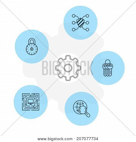 Editable Pack Of System Security, Safeguard, Safe Lock And Other Elements.  Vector Illustration Of 5 Privacy Icons.
