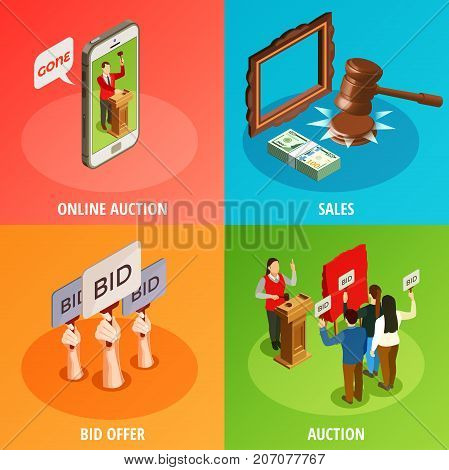 Auction isometric 2x2 design concept with images of human hands holding auction paddles and smartphone online application vector illustration