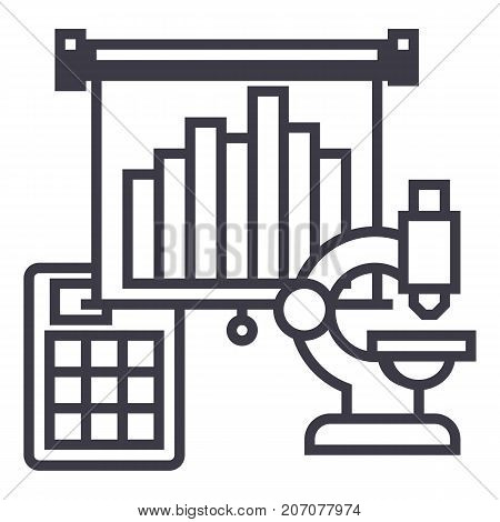 marketing research, flip chart vector line icon, sign, illustration on white background, editable strokes