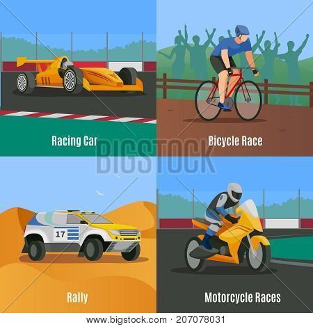 Racing flat 2x2 design concept with doodle style images of motor vehicles and bicycle race track vector illustration
