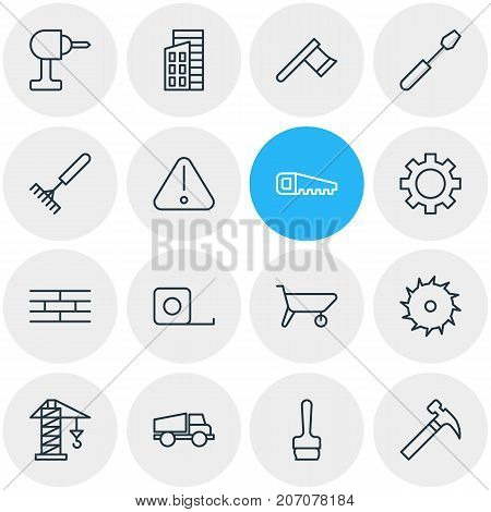 Editable Pack Of Road Sign, Lifting, Handcart Elements.  Vector Illustration Of 16 Industry Icons.