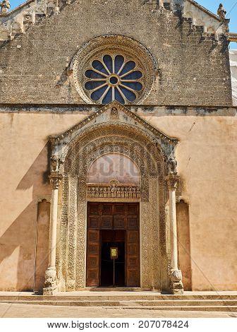 Galatina, Italy - August 15, 2017. Principal facade of Basilica di Santa Caterina d'Alessandria (St Catherine). Galatina Apulia Italy.