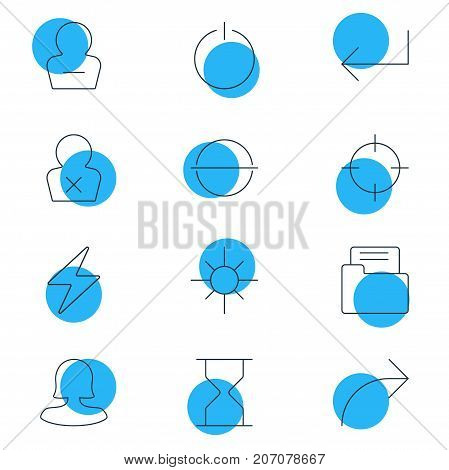 Editable Pack Of Screen Capture, Hourglass, Share And Other Elements.  Vector Illustration Of 12 Interface Icons.