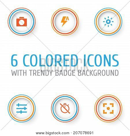 Picture Icons Set. Collection Of Thunder, Capture, Wb Iridescent And Other Elements