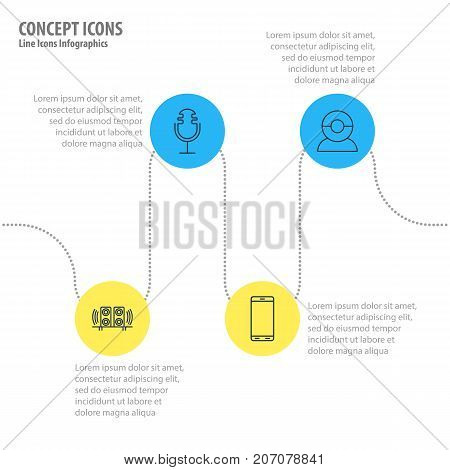 Editable Pack Of Smartphone, Sound Recording, Loudspeaker And Other Elements.  Vector Illustration Of 4 Accessory Icons.