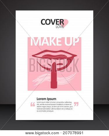 Make up beauty trendy cover design annual report vector template brochures flyers presentations leaflet magazine a4 size with red lips and lipstick instead of finger brought to lips