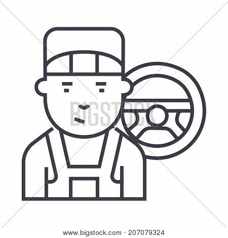 mechanic vector line icon, sign, illustration on white background, editable strokes