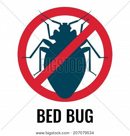 Anti bed bug emblem, icon of parasite placed in circle and crossed with line, label on vector illustration isolated on white background