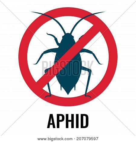 Anti-aphid emblem with circle and crossing diagonal line, representing anti-bug label on vector illustration isolated on white background