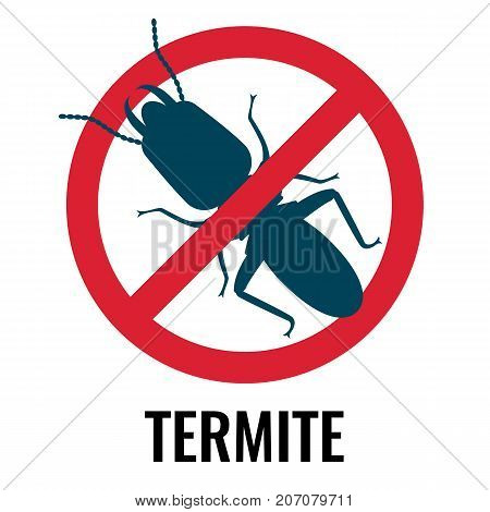 Anti-termite red and blue icon, representing bug placed in crossed circle, picture on vector illustration isolated on white background