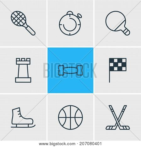 Editable Pack Of Rocket, Pong, Dumbbell And Other Elements.  Vector Illustration Of 9 Fitness Icons.