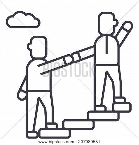 mentor, helping, mentoring, achieving goal vector line icon, sign, illustration on white background, editable strokes