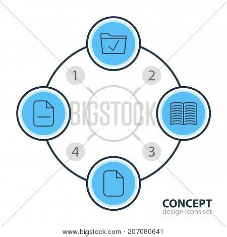 Editable Pack Of Document, Textbook, Approve And Other Elements.  Vector Illustration Of 4 Office Icons.