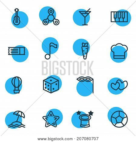 Editable Pack Of Gambling, Favorite, Music Note And Other Elements.  Vector Illustration Of 16 Leisure Icons.