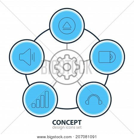 Editable Pack Of Compact Disk, Audio, Rewind And Other Elements.  Vector Illustration Of 5 Melody Icons.