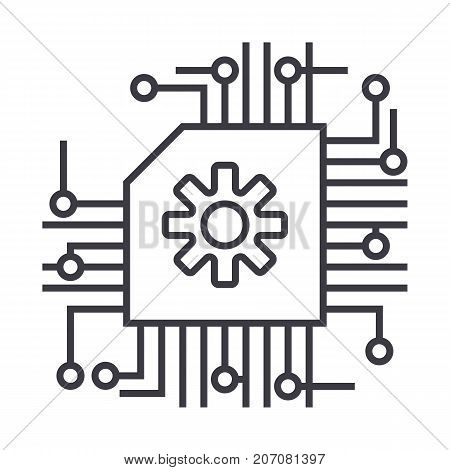 scheme, ai, artificial intelligence vector line icon, sign, illustration on white background, editable strokes